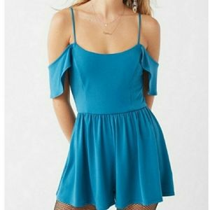 NWT Urban Outfitters Blue Off Shoulder Romper XS